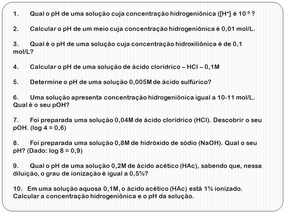 1. Qual o pH de uma solução cuja concentração hidrogeniônica ([H+] é 10-8